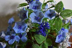 French Beaded Flower Arrangement Vintage Blue 2 • $80.00