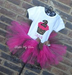 Hot Pink Cheetah Cupcake Birthday Tutu Outfit