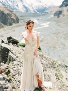 Jenny Packham gown - Pre wedding shoot in the Georgian mountains captured by Tamara Gigola - via Magnolia Rouge