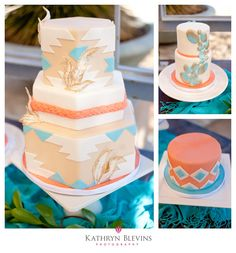 Turquoise and Coral Cake by Peridot Sweets | Las Vegas Weddings at Springs Preserve | @Katy Blevins