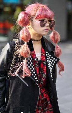 pink hair, cute puffy twin ponytails - Japanese fashion
