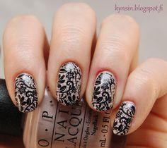 Kynsin: Mustaa pitsiä Class Ring, Nail Art, Nails, Beauty, Finger Nails, Ongles, Nail Arts, Beauty Illustration, Nail Art Designs