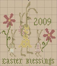 Easter blessings free cross stitch chart