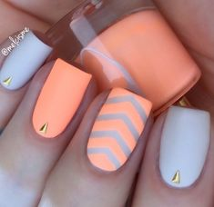Matte neon orange and white creamsicle manicure by @melcisme! Single Chevron Nail Art Stencils found at snailvinyls.com