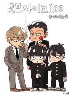 Mob Psycho 100 | Reigen, Dimple, Ritsu, and Shigeo (Mob)