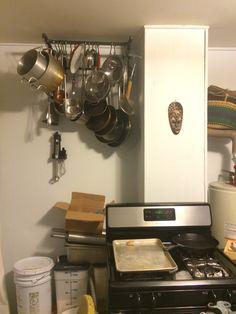 Iron pipe pots and pans organizer. Kitchen DIY!