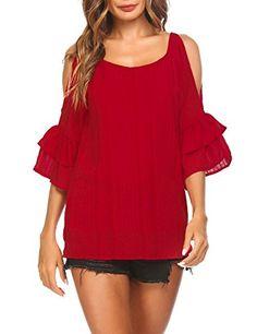f066c0991bdb1 UGET Women Chiffon Cold Shoulder Tops Flare Sleeve Crewneck Flowy Shirt  Casual Blouse£¨S-XXL£©