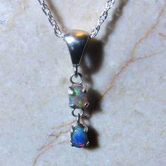 Lightning Ridge Double Opal Pendant  Sterling Silver by KJOFineArt, $125.00