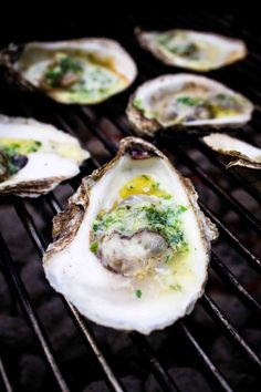 Grilled Oysters with Herb and Garlic Butter.