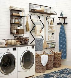 34 Practical Home laundry room design ideas in 2018 Tags: Laundry room decor Small laundry room ideas Laundry room makeover Farmhouse laundry room Laundry room storage Laundry room shelves Laundry room organization Mud room Utility room ideas Laundry room Laundry Room Organization, Laundry Room Design, Organization Station, Organization Hacks, Organizing Tips, Laundry Storage, Laundry Shelves, Room Shelves, Laundry Baskets