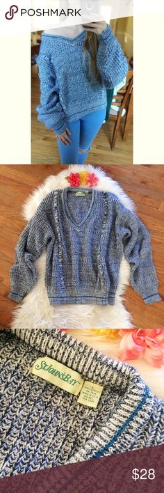 Vintage 90's Blue Marled Knit Sweater 🌿 Super soft and cozy one of a kind vintage St. John's Bay sweater! Super flattering v-neck cut, can be worn off the shoulder for a slouchy fit. Soft marled blue and white pattern. A staple for any sweater lovers closet! Not Brandy! In great vintage condition. Size large but fits a variety of sizes depending on desired fit! Modeled on a size xs :)  Measurements:   Total Length (top of shoulder to bottom hem)- 23.5 inches  Bust- About 26 inches flat…