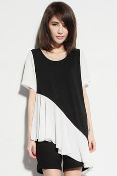 Black Asymmetrical Color Block T-shirt #ROMWE