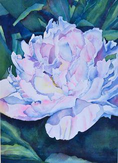 Original watercolor, Peony in Bloom, Watercolor Flowers, Watercolor Paintings, Art Forms, Peonies, Favorite Color, Beautiful Flowers, My Arts, Bloom, Water Colors