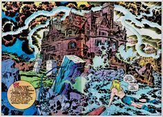 A Kirby-Krackle-bedecked splash page by Jack Kirby for Kamandi, The Last Boy on Earth.