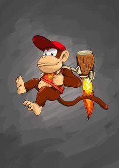Diddy Kong.  #Donkey #Kong #DK #K #O #N #G #Country #SNES #Wii #Monkey #Hero #Banana #Lover #Diddy #Sidekick #Red #Hat Super Nintendo, Nintendo Games, Super Smash Bros, Super Mario Bros, King Koopa, Banjo Kazooie, Diddy Kong, Donkey Kong Country, Nintendo Characters