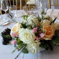 White blush pink wedding centerpiece Wilmette Florist | Flower Delivery by Flowers by Geo