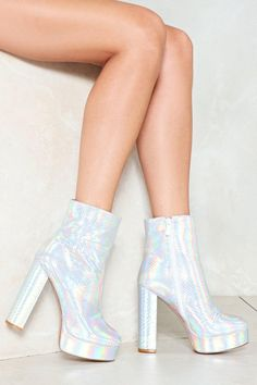 Love is the Drug Holographic Boot High Heel Boots, Heeled Boots, Shoe Boots, High Heels, Shoes Heels, Platform Ankle Boots, Holographic Boots, Holographic Fashion, Fancy Shoes