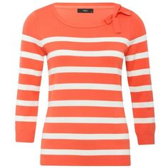 M&Co Striped Bow Neck Jumper ($12) ❤ liked on Polyvore featuring tops, sweaters, shirts, coral, slim shirt, striped sweater, 3/4 sleeve shirts, red striped sweater and striped shirt