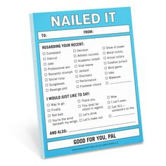 """Knock Knock Nailed It nifty notes are funny work memo notes & coworker gift ideas. Need fun gifts that say you're awesome? Knock Knock says, """"Nailed it!"""""""