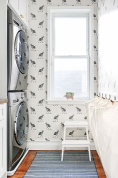 wallpaper, rug, stool, laundry, bags, stackable @yellowbrickhome