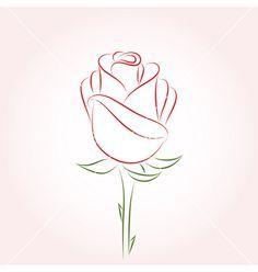 Rose Drawing Rose vector on VectorStock® Plant Drawing, Painting & Drawing, Drawing Drawing, Drawing Ideas, Flower Outline Tattoo, Rose Outline Drawing, Flower Design Drawing, Flower Drawings, Art Floral