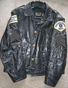 http://leathermotorcyclejackets.jimdo.com/  Chicago Police - old leather jacket