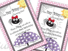 Itsy Bitsy Spider printable invitation and cover by Sunnybydesign, $6.00  Must order these!!!