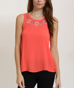 Loving this Coral Shimmer-Neck Tank on #zulily! #zulilyfinds