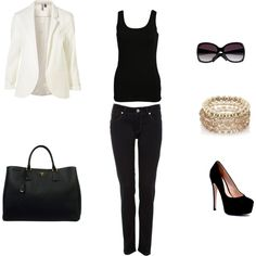 #classic look. inspired by the white #blazer. created by jacqueline-kalter on #Polyvore.