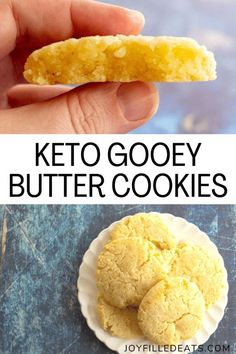 You can make gooey butter cookies with just 8 ingredients and 20 minutes. Keto Butter Cookies are sweet, chewy, buttery, and delicious! They are low carb, gluten-free, grain-free, and Trim Healthy Mama friendly too. Low Carb Sweets, Low Carb Desserts, Low Carb Recipes, Keto Butter Cookies, Keto Dessert Easy, Low Carb Keto, Atkins, Vegan, Friday