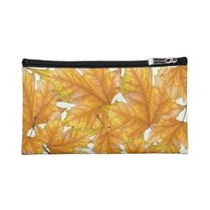 Maple autumn leaves makeup bag (960 UAH) ❤ liked on Polyvore featuring beauty products, beauty accessories, bags & cases, dop kit, makeup purse, purse makeup bag, travel kit and toiletry kits