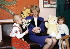 Princess Diana chatting with young children