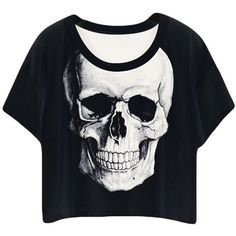 Black Ladies Crew Neck Skull Printed T-shirt ( 10) ❤ liked on Polyvore 7de9341b6e16