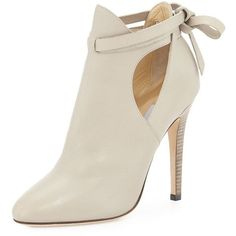 "Jimmy Choo.  Marina Leather Cutout Bootie, Marble.  Jimmy Choo leather bootie with cutout sides.  4.5"" covered heel.  Round toe.  Ankle-wrap loops through coun…"