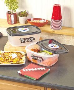 The Jumbo 4-Pc. NFL Food Storage set lets you bring extra helpings of your signature snacks to the party on game day. #fall #football