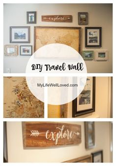 Statement Wall Art that's both personal and a talking piece! Such a fun idea! DIY Travel Wall Art -My Life Well Loved