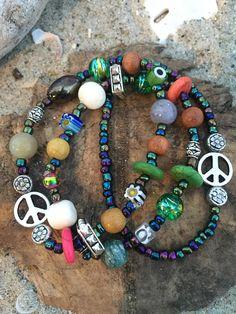 Beachy boho hippie style bracelet set.  Multi colored beads