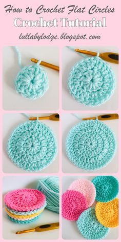 How to crochet flat circles, three different ways. Learn how to crochet flat circles. This free tutorial covers single crochet, half double crochet and double crochet circles. Step by step instructions including helpful photos. Crochet Circle Pattern, Pattern Floral, Crochet Circles, Easy Crochet Patterns, Knitting Patterns, Easy Knitting, Start Knitting, Magic Circle Crochet, Crochet Coaster Pattern