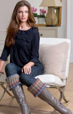 Warm Ribbed Boot Cuffs (knit in Boutique Treasure Horizon)