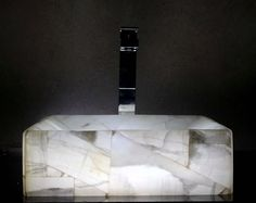 Modern Natural Stone Bathroom Vessel Sink - White Onyx