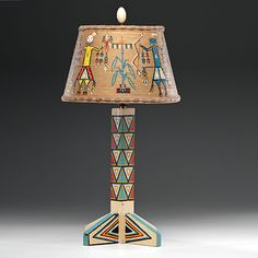 Southwest table lamps copper table lamp southwestern design painted wooden lamp from the shiprock trading post aloadofball Gallery
