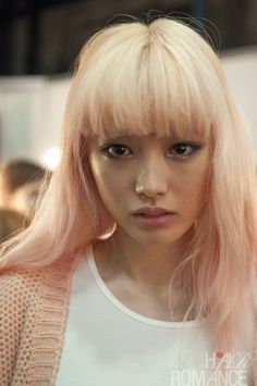 Lovely, lovely strawberry blonde/pink pastel at MBFWA 2014 Day 4, as blogged by Hair Romance