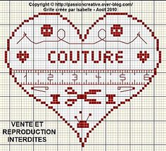 Coeur couture Free Cross Stitch Charts, Cross Stitch Heart, Cross Stitch Borders, Cross Stitch Alphabet, Cross Stitch Designs, Cross Stitching, Cross Stitch Patterns, Blackwork Embroidery, Cross Stitch Embroidery