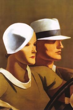 Art Deco Posters - The Man & Woman in the White Hats