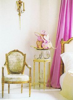 Gold gilt bed and chair with gorgeous pink curtains - French fab