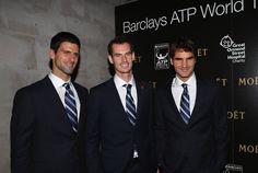 Novak Djokovic, Andy Murray, & Roger Federer in London for the World Tour Finals, 3 November 2012