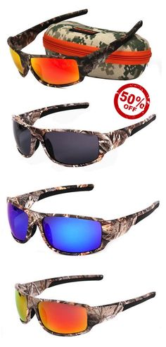 c91b233ab8a CAMOUFLAGE POLARIZED FISHING SUNGLASSES with Interchangeable Lenses. Ideal  for Fishing