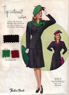 """Fashion Frocks """"Top-Interest Color"""" 1940's    Fashion Frocks sales sample card for Style 781, wool suit."""