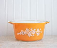 Orange Pyrex  Bowl Pyrex Casserole Orange Butterfly by MollyFinds, $22.50