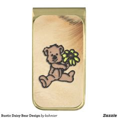 Rustic Daisy Bear Design Gold Finish Money Clip